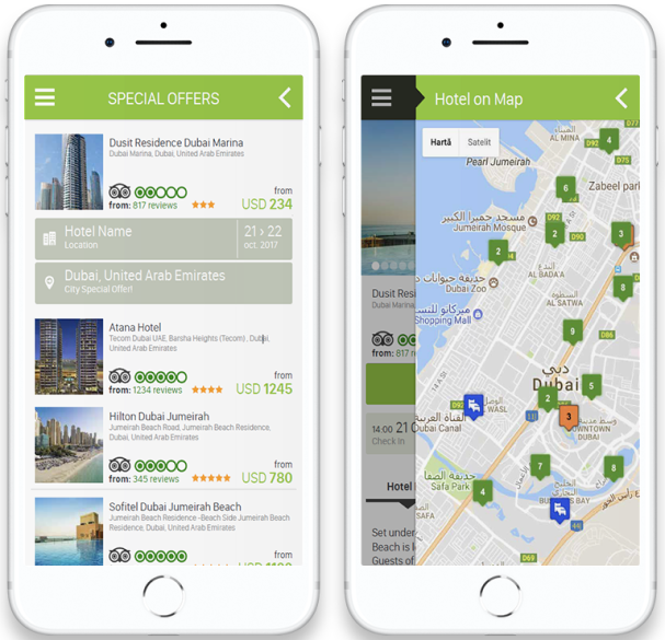 wbe.travel Mobile App with dynamic packages of hotels and flights