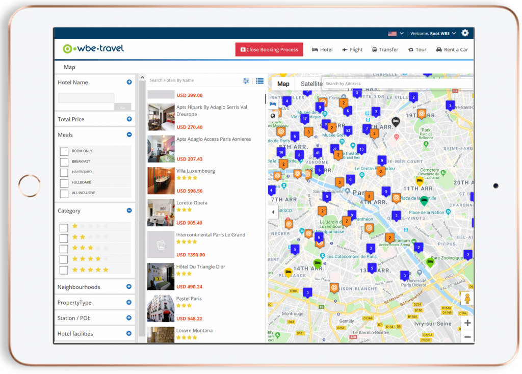 B2B Booking System - Map view - wbe.travel