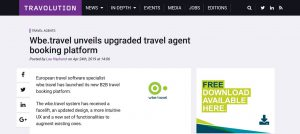 wbe travel in Travolution news - upgraded travel agent
