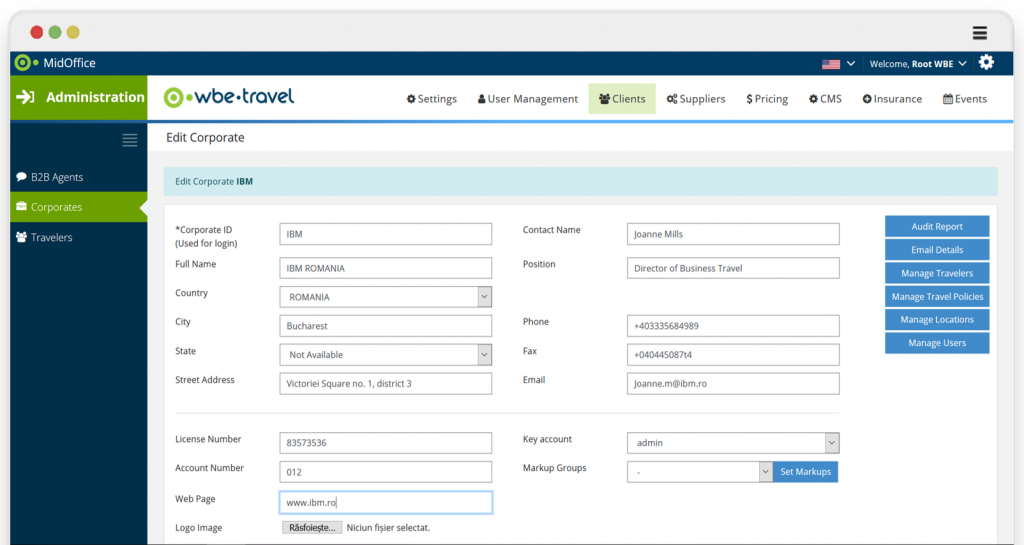 Corporate Booking Tool - Edit corporate client - by wbe.travel