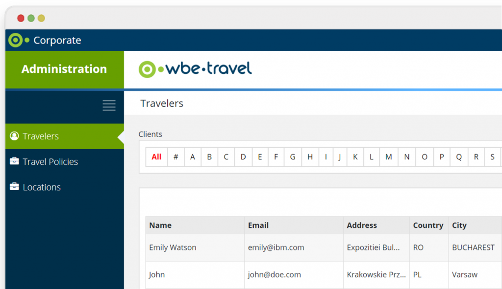 Corporate Self Booking Tool - Travel Policy - wbe.travel