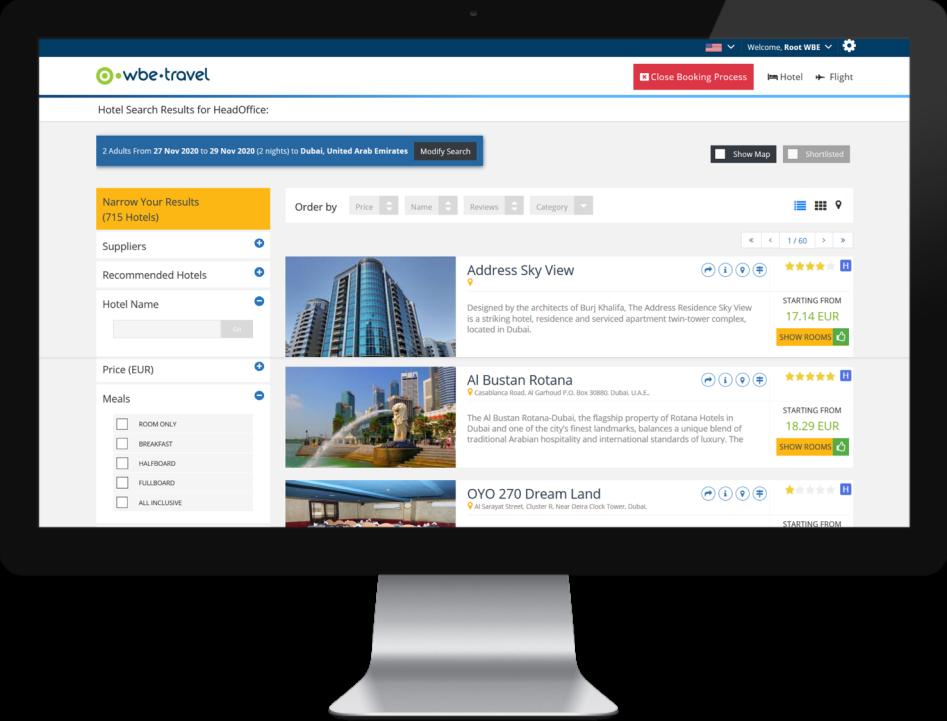 B2B Booking Engine serach result hotel search monitor 947 721