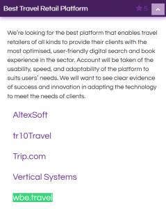 Travolution Awards Best Travel Retail Platform nomination for wbe.travel - Travel technology