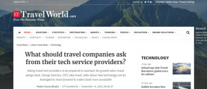 What should travel companies ask from their tech service providers - wbe.travel in ET Travelworld